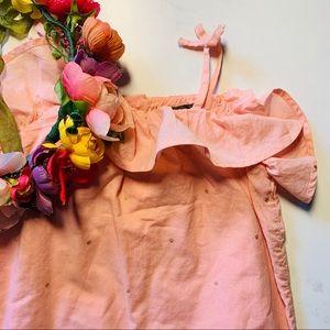 Baby Gap Girls pink Romper w/ Gold Dots Sz 18-24m